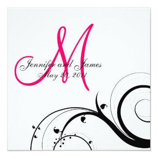 "Swirl Monogram Wedding Save the Date Back View 5.25"" Square Invitation Card"