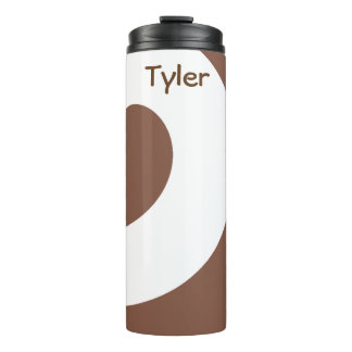 Swirl Pattern Brown and White Thermal Tumbler
