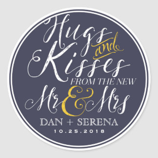Swirl Script Mr and Mrs Wedding Favour Sticker