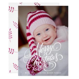 Swirl Script Overlay Holiday Photo Card