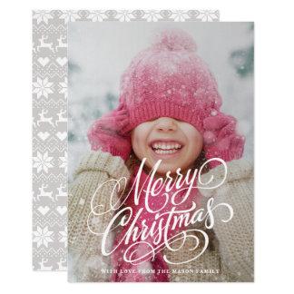 Swirl Script Overlay Photo Christmas Card