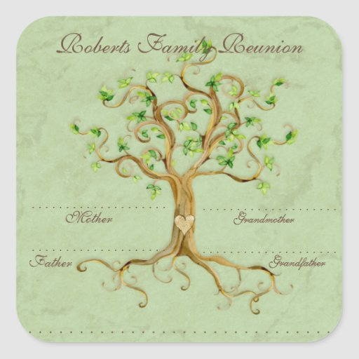 Swirl Tree Roots Antiqued Family Reunion Name Tags Square Stickers
