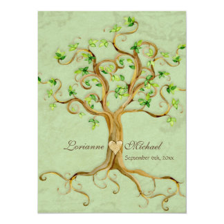 """Swirl Tree Roots Antiqued Green Parchment Wedding 5.5"""" X 7.5"""" Invitation Card"""