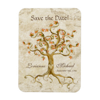 Swirl Tree Roots Antiqued Parchment Save the Date Magnet