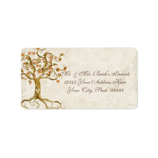 Swirl Tree Roots Antiqued Parchment Wedding Custom Address Labels