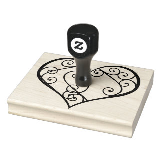 "Swirled Heart, You Color In, 4"" x 5"" Rubber Stamp"