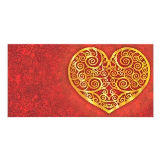 Swirled Love Gold Custom Photo Card