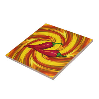 swirled mandala gold red hot spicy peppers tile