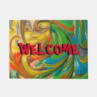 swirled paint welcome mat