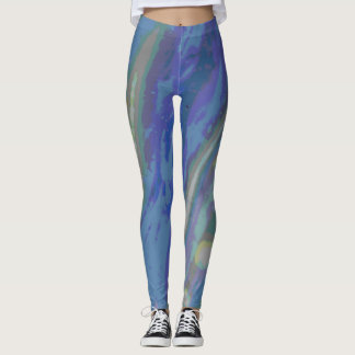 Swirled Spots and Stripes in Muted Pastels Leggings