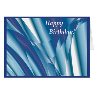 Swirling Blue Abstract Birthday Card