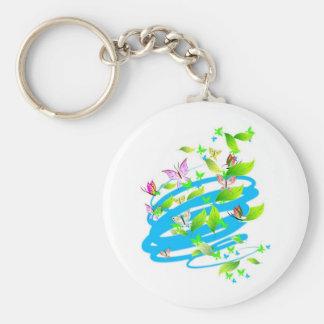 Swirling Butterflies Basic Round Button Keychain