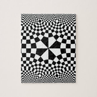 Swirling Checkers Optical Illusion Black & White Jigsaw Puzzle