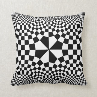 Swirling Checkers Optical Illusion Black & White Throw Pillow
