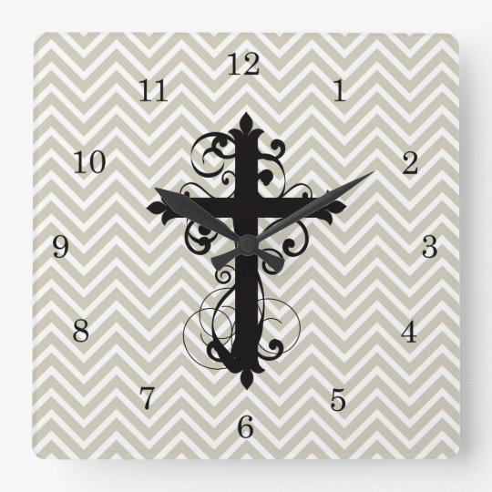 Swirling Christian Cross Grey Chevron Wallclock