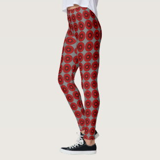Swirling circles in red/black gray background patt leggings