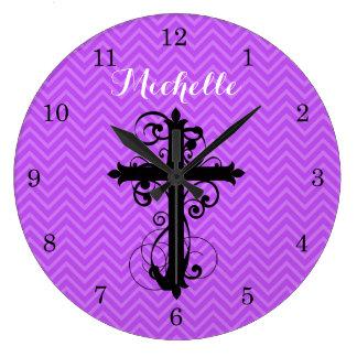 Swirling Cross Purple Chevron Personalized Large Clock