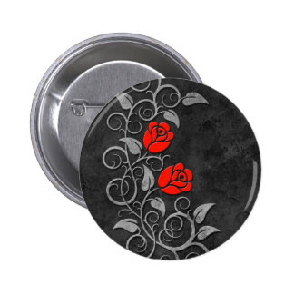 Swirling Dark Stone Red Roses 2 Inch Round Button
