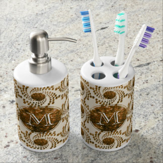 Swirling Dots in Sparkling Champagne & Gold Bathroom Set