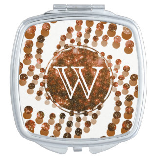 Swirling Dots in Sparkling Copper & Bronze Mirrors For Makeup