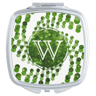 Swirling Dots in Sparkling Peridot (Green) Compact Mirror