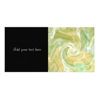 Swirling Green Yellow Abstract Art Personalized Photo Card