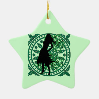 Swirling Lady in Green with Flowery Flourish Ceramic Ornament
