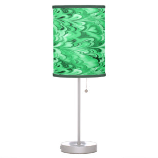 Swirling Marbled Shades of Green Table Lamp