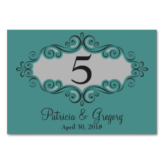 Swirling Pattern Border Grey and Black Table Cards