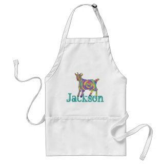 Swirling psychedelic Art Goat Design add Your Name Standard Apron