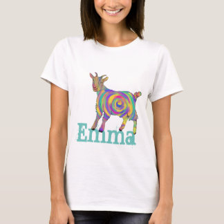 Swirling psychedelic Art Goat Design add Your Name T-Shirt