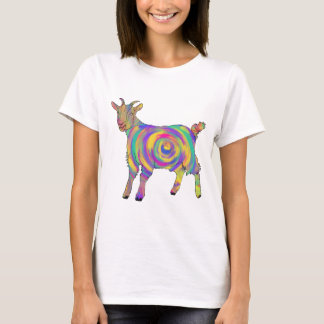 Swirling Psychedelic Goat Colourful Animal Art T-Shirt