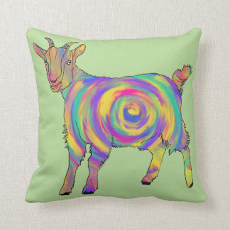 Swirling psychedelic Goat Colourful Animal Art Throw Pillow