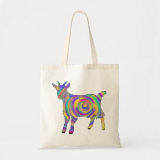 Swirling psychedelic Goat Colourful Animal Art Tote Bag