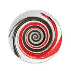 Swirling Red, White and Chocolate Brushstroke Plate