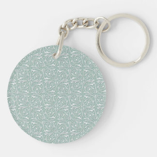 Swirling Vines in Pale Sage Green and White Double-Sided Round Acrylic Keychain