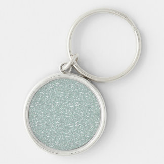 Swirling Vines in Pale Sage Green and White Key Chains