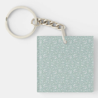 Swirling Vines in Pale Sage Green and White Single-Sided Square Acrylic Keychain