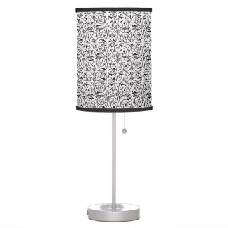 Swirling Vines Pattern in Black and White Desk Lamps