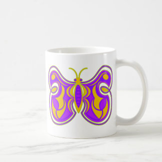 Swirling Vintage Butterfly Classic White Coffee Mug
