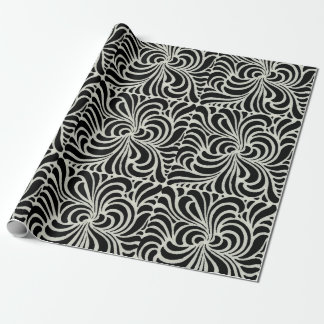Swirling vintage Japanese abstract black&white Wrapping Paper