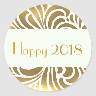 Swirling vintage Japanese abstract -happy 2018 Classic Round Sticker