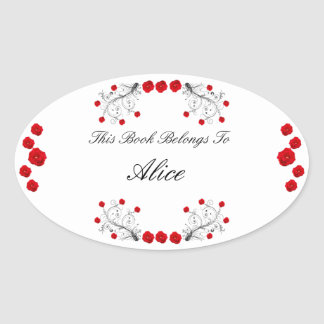 Swirls and Roses Oval Sticker