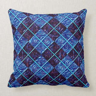 SWIRLS AND SMALL PLAID THROW PILLOW