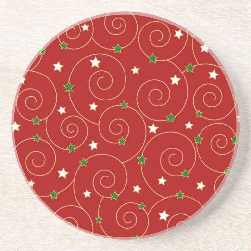 Swirls and stars on red beverage coaster