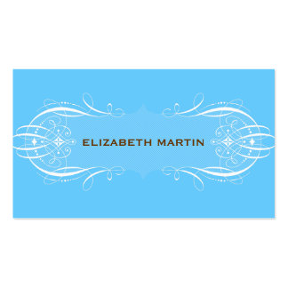 Swirls and Stripes Business Card in Blue & Brown