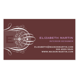 Swirls and Stripes Business Card in Purple & Brown