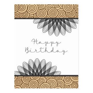 Swirls and Whirls Happy Birthday Postcard