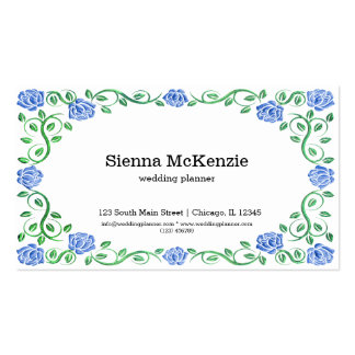 Swirls blue roses pack of standard business cards
