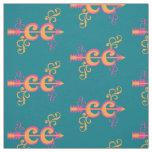 Swirls Cross Country Runner Symbol Pink Orange Fabric